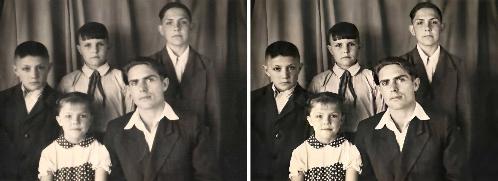 Восстановление семейной фотографии (до и после обработки)