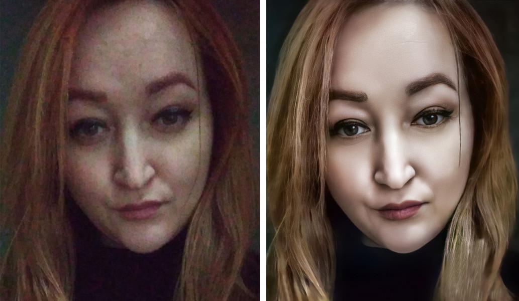 Портретная ретушь девушки (до и после обработки)