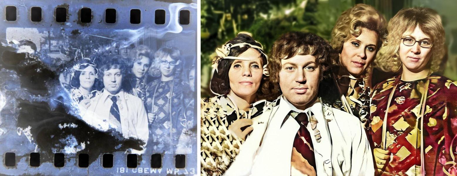 Реставрация и колоризация группового снимка (до и после обработки)