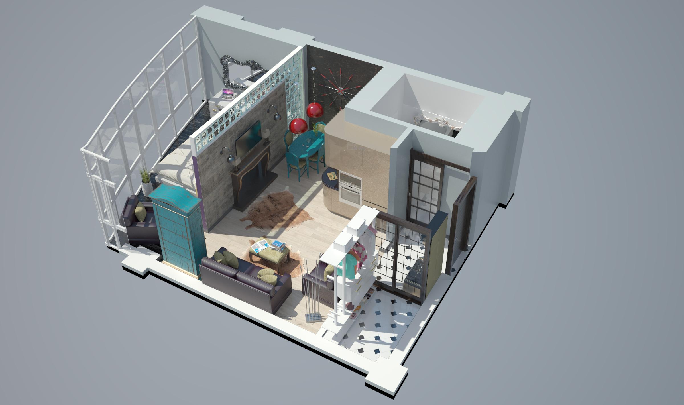 Однокомнатная квартира в новостройке общий вид  3