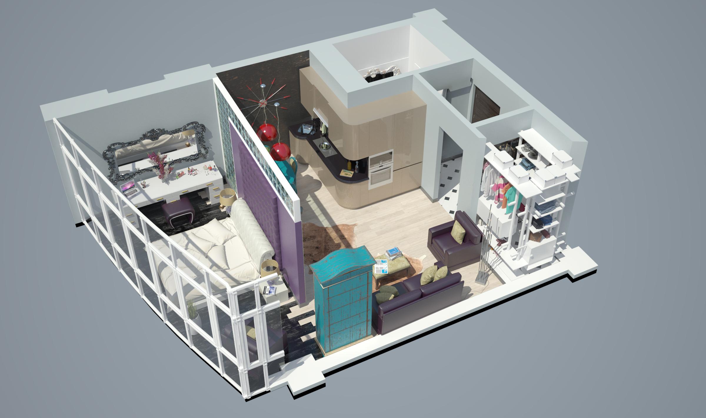 Однокомнатная квартира в новостройке общий вид  2