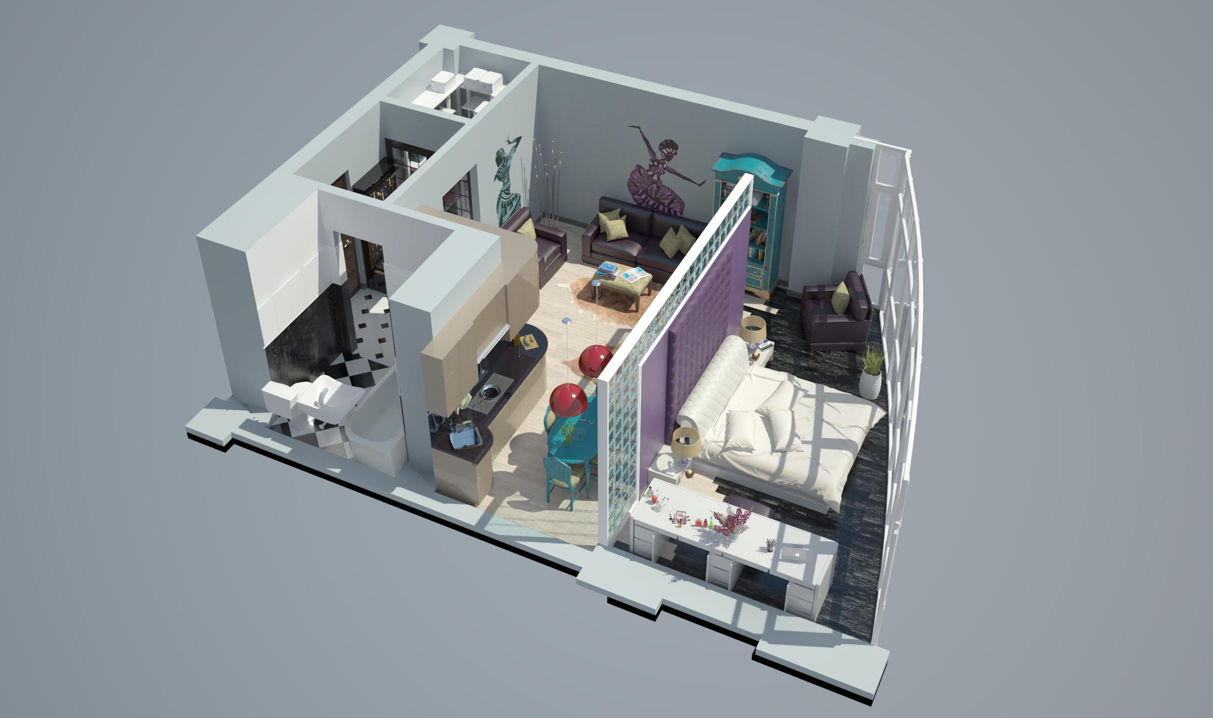 Однокомнатная квартира в новостройке общий вид