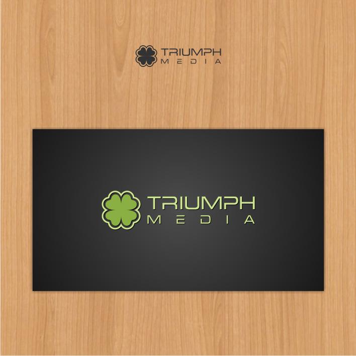 Разработка логотипа  TRIUMPH MEDIA с изображением клевера фото f_507155940d778.png