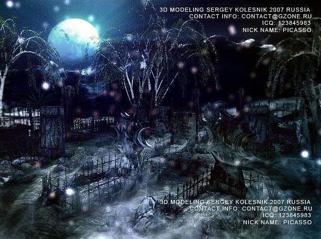 3д арт к игре,кладбище