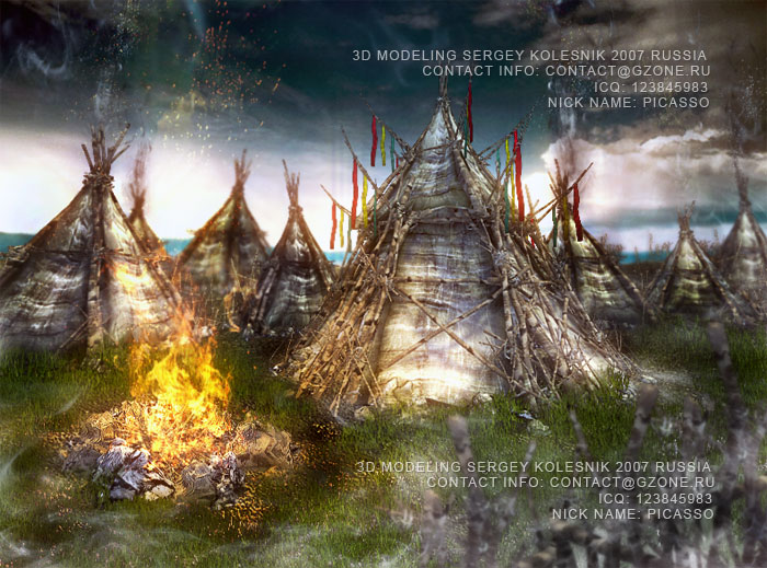 3д арт к игре ,лагерь орков