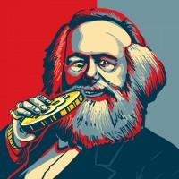 Маркс с биткойном в стиле Obama Hope