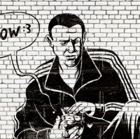 Гопник с котёнком, граффити в стиле Бэнкси