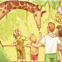 Отец с детьми кормит жирафа в зоопарке