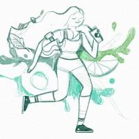 Эскиз девушки для эко-коктейлей Bubble Store