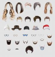 Маски волос, очков и головных уборов для приложения