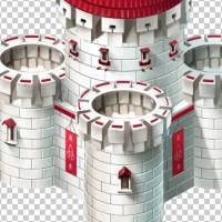 Средневековый замок в изометрии (фрагмент, башня)