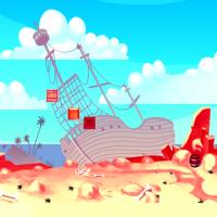 Затонушвий корабль, фон для игры про пиратов