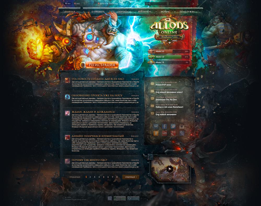 Верстка сайта Allods Online