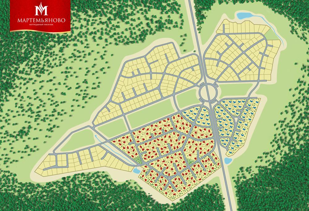 Генплан для элитного котеджного поселка «Мартемьяново».