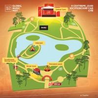 Карта для музыкального фестиваля «Части света»