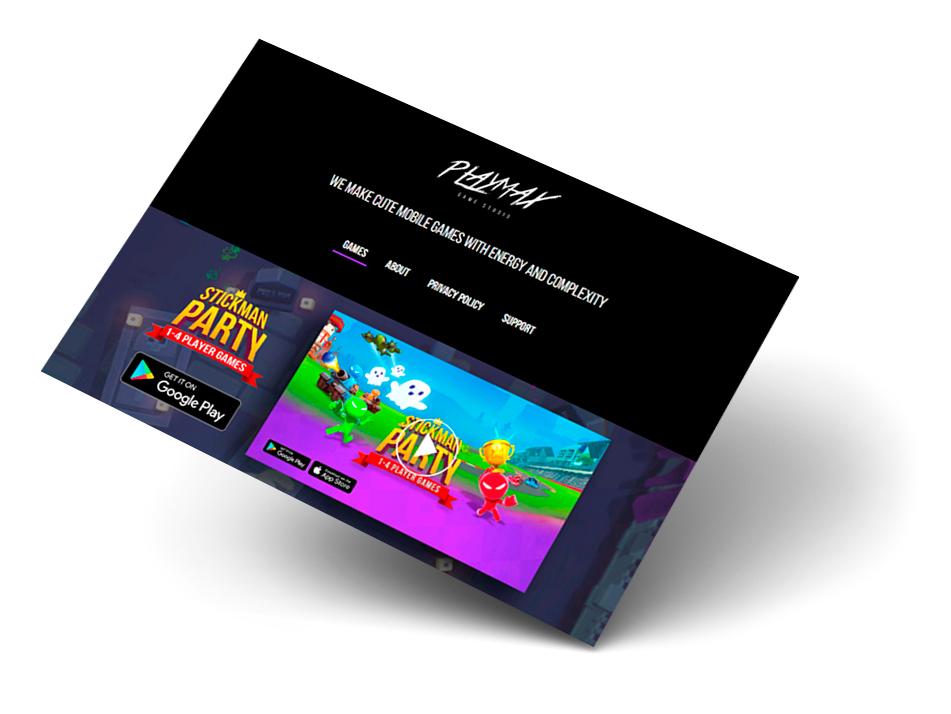 Сайт визитка для компании по разработке мобильных игр