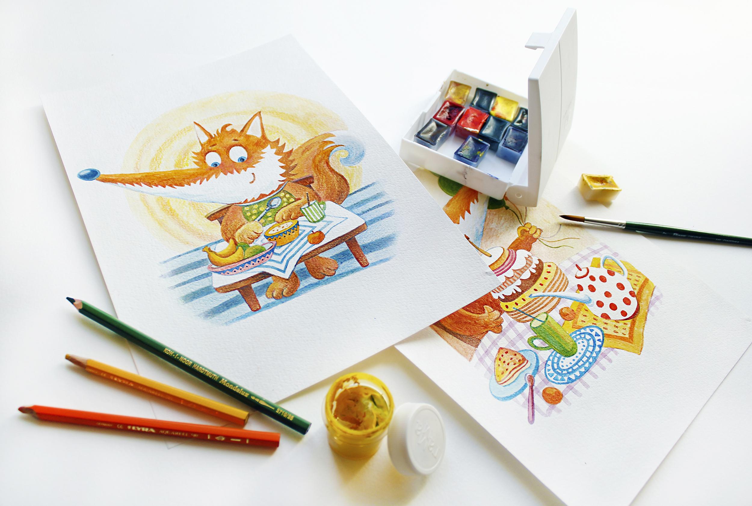 Разработка персонажа и иллюстраций для детского кафе