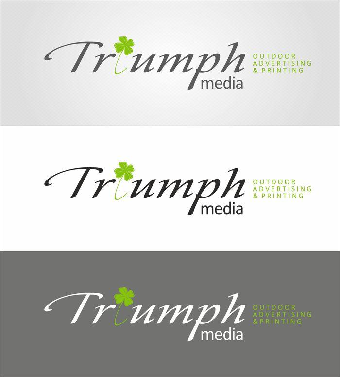 Разработка логотипа  TRIUMPH MEDIA с изображением клевера фото f_5072bbb1dc197.jpg