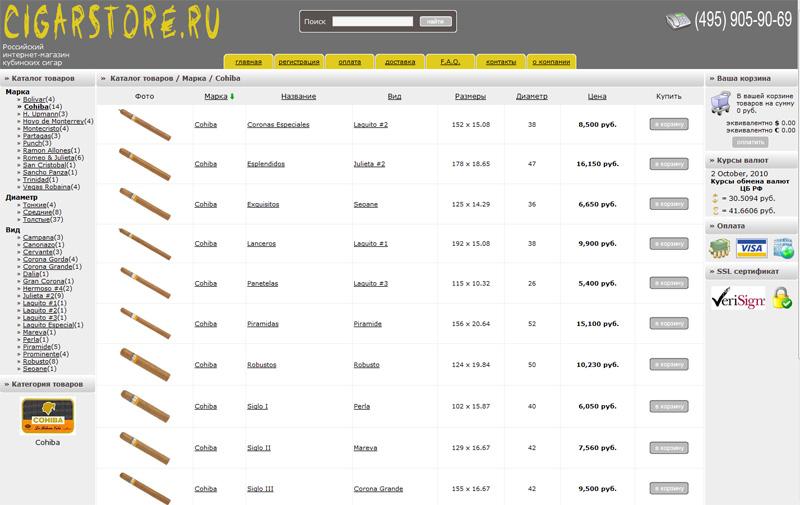 CMS для интернет-магазина кубинских сигар