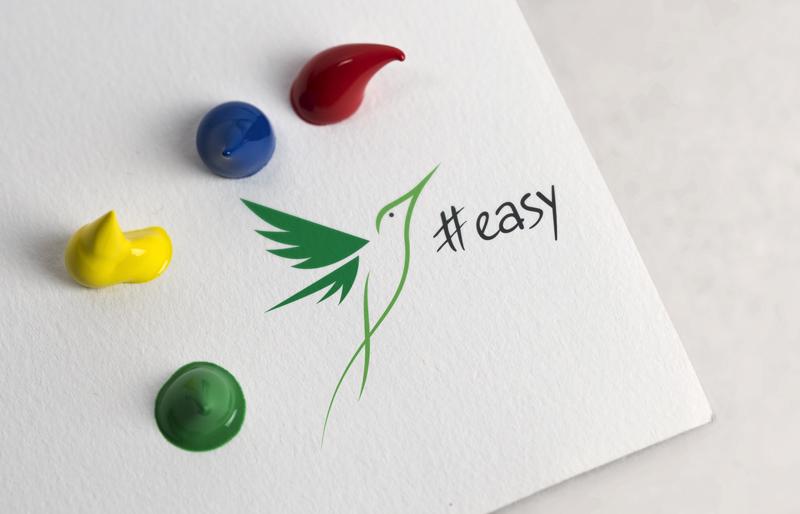 Разработка логотипа в виде хэштега #easy с зеленой колибри  фото f_4255d512372ef8e8.jpg