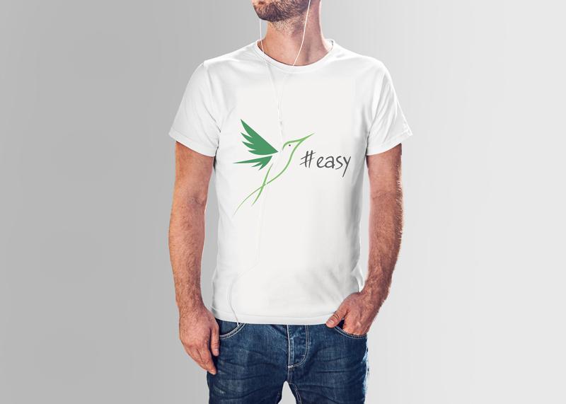 Разработка логотипа в виде хэштега #easy с зеленой колибри  фото f_8885d51233ec7ba0.jpg