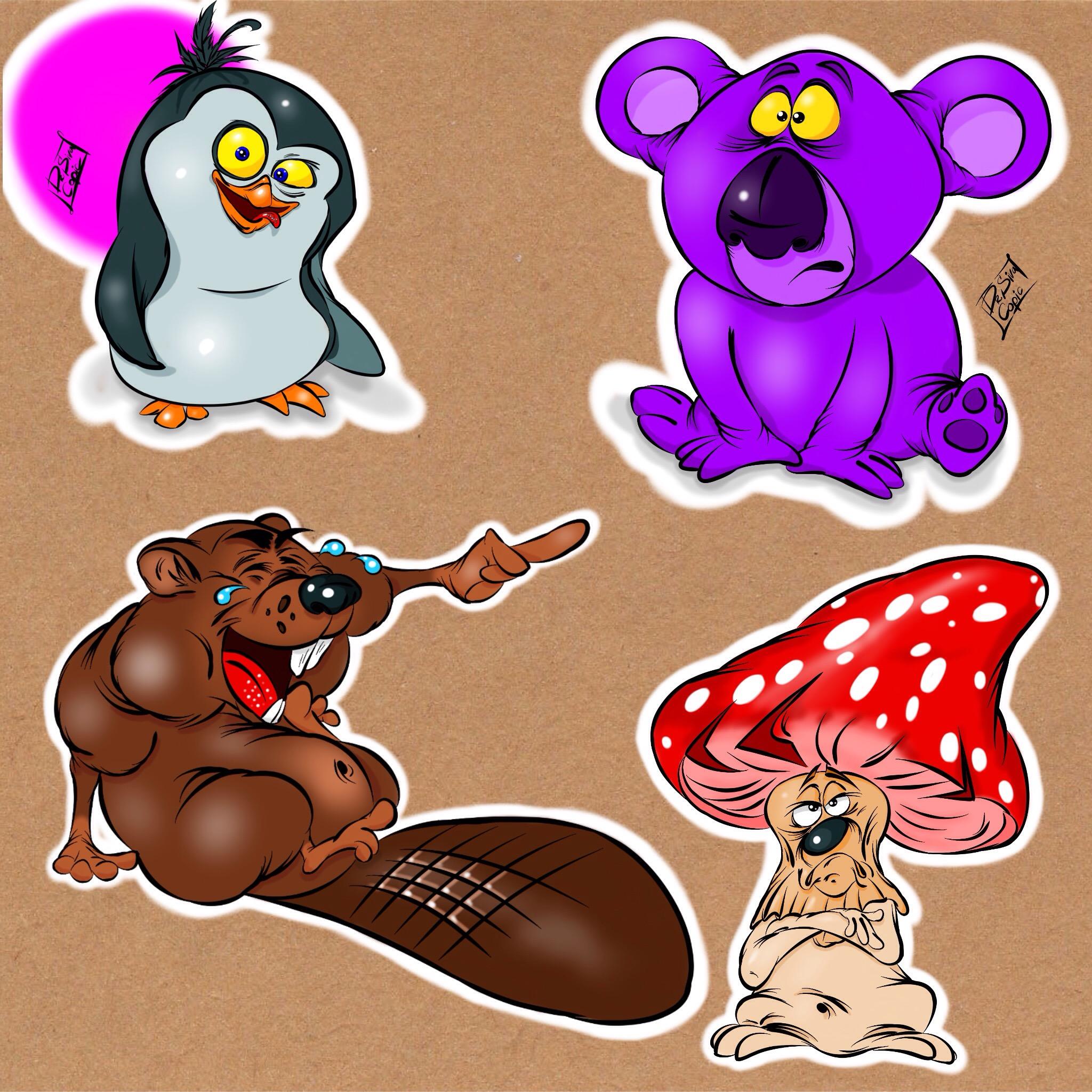 Разработать 5 изображений животных - добрые, веселые, яркие  фото f_5945c7f6e2f55117.jpg