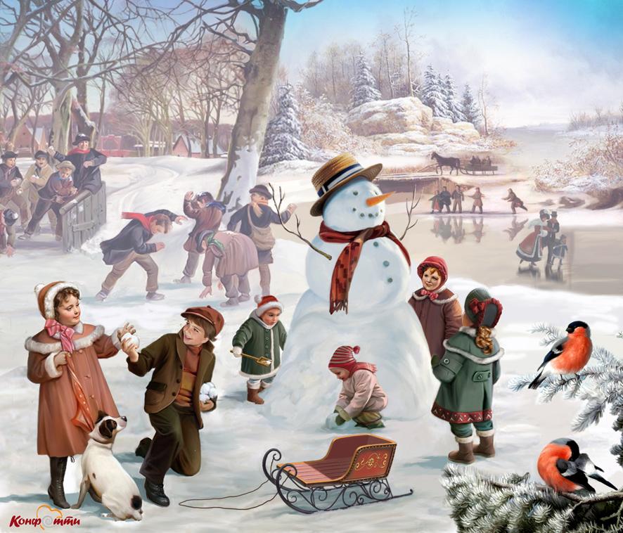 Зимние забавы Иллюстрация на упаковку подарков