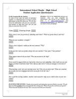 Questionnaire for Qualitative Research&Analysis