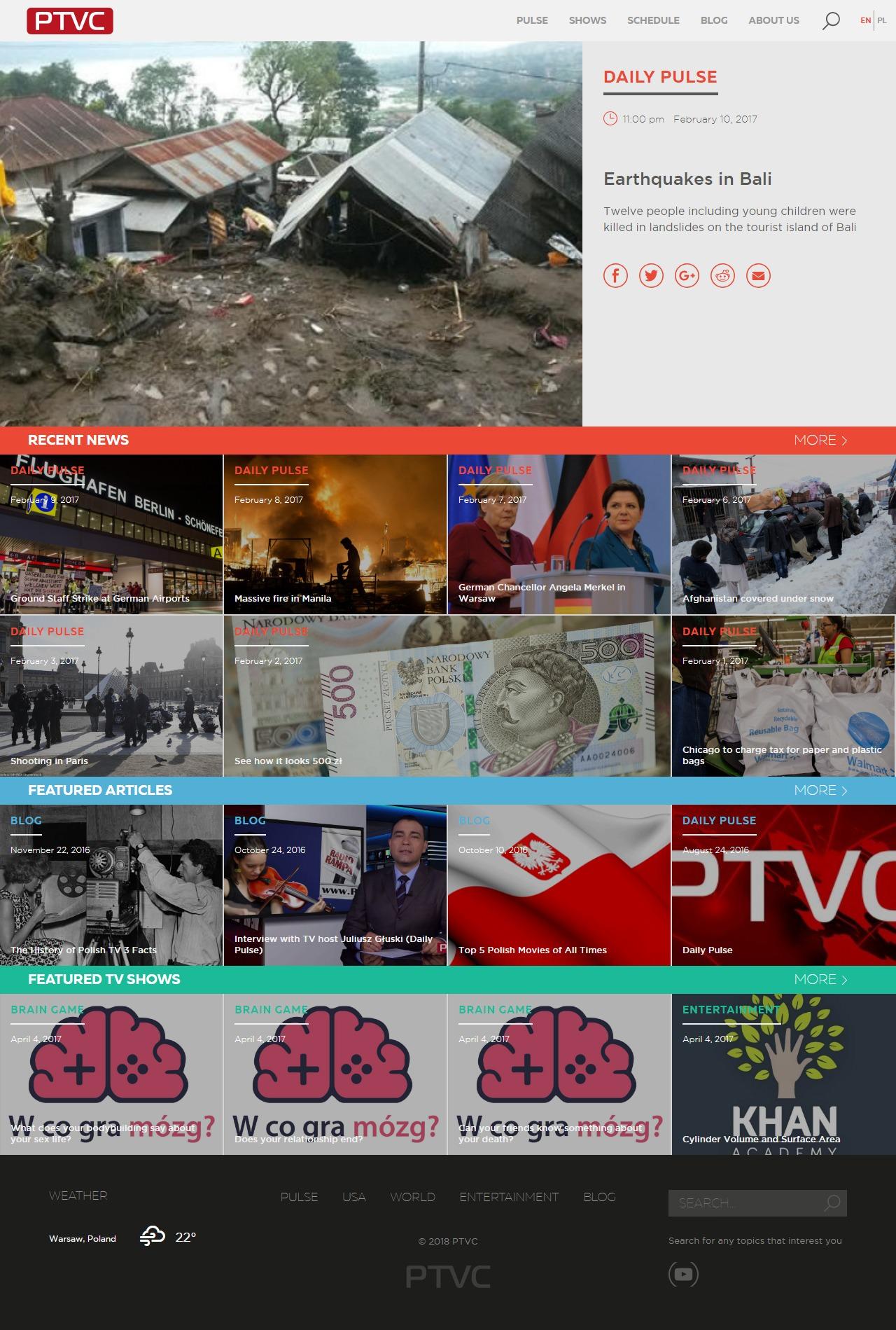"""Сайт для новостного агенства """"PTVCI"""" (Польша)"""