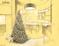 Эскиз для проекта новогоднего оформления бутика