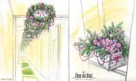 Иллюстрации для флористов, эскизы оформления интерьера.