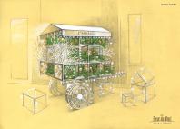 Эскиз для проекта новогоднего оформления бутика (экстерьер)