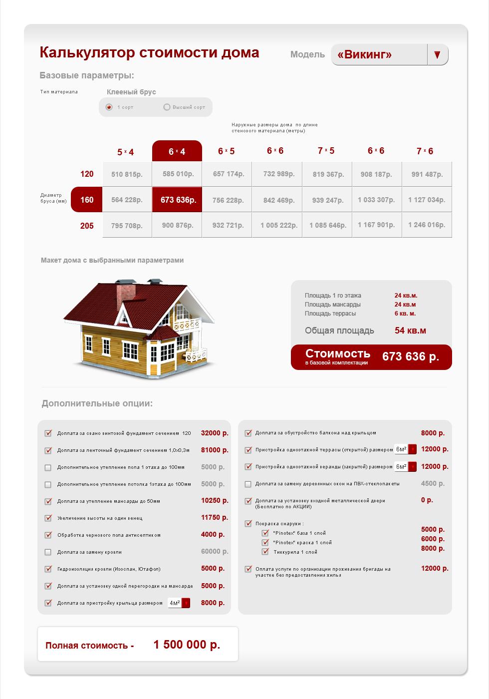 калькулятор стоимости дома