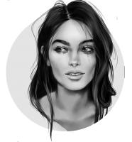 Ч/б портрет девушки