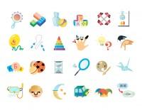 Серия иконок в детском стиле [Открой чтобы посмотреть процесс создания]
