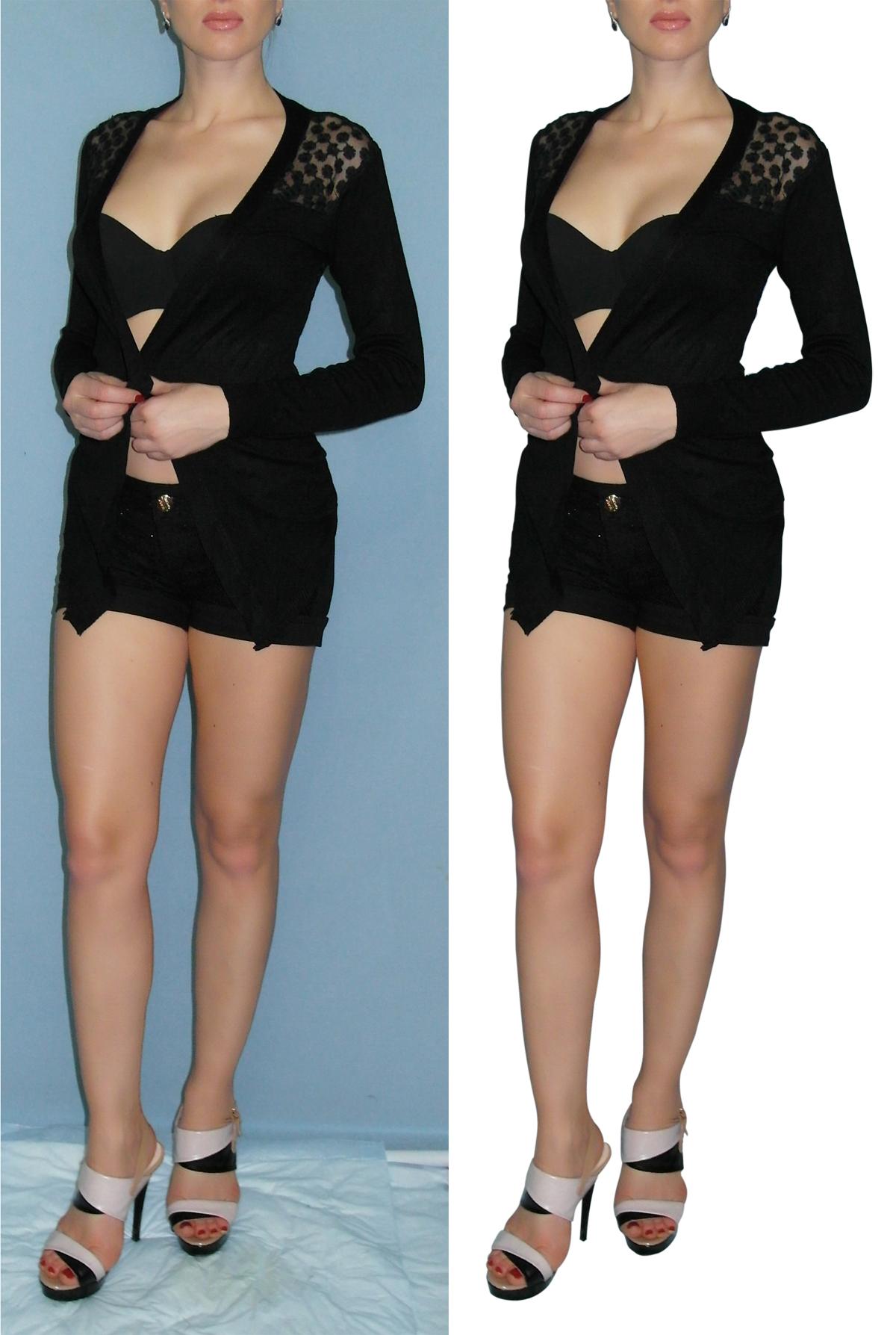 Обтравка пером (одежда на модели)