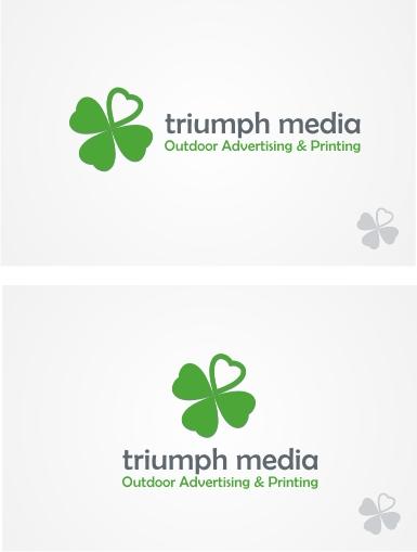 Разработка логотипа  TRIUMPH MEDIA с изображением клевера фото f_5077f2a65a956.jpg