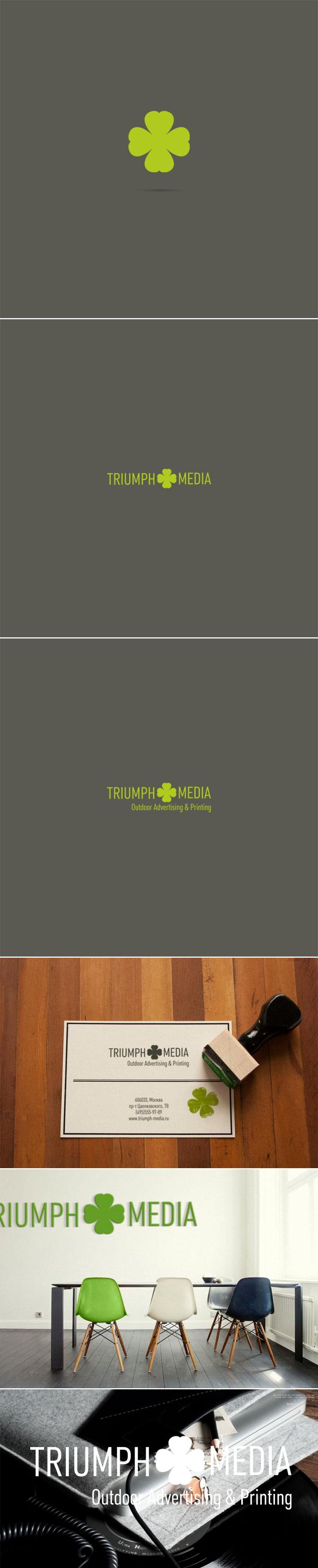 Разработка логотипа  TRIUMPH MEDIA с изображением клевера фото f_50730a6694b46.jpg