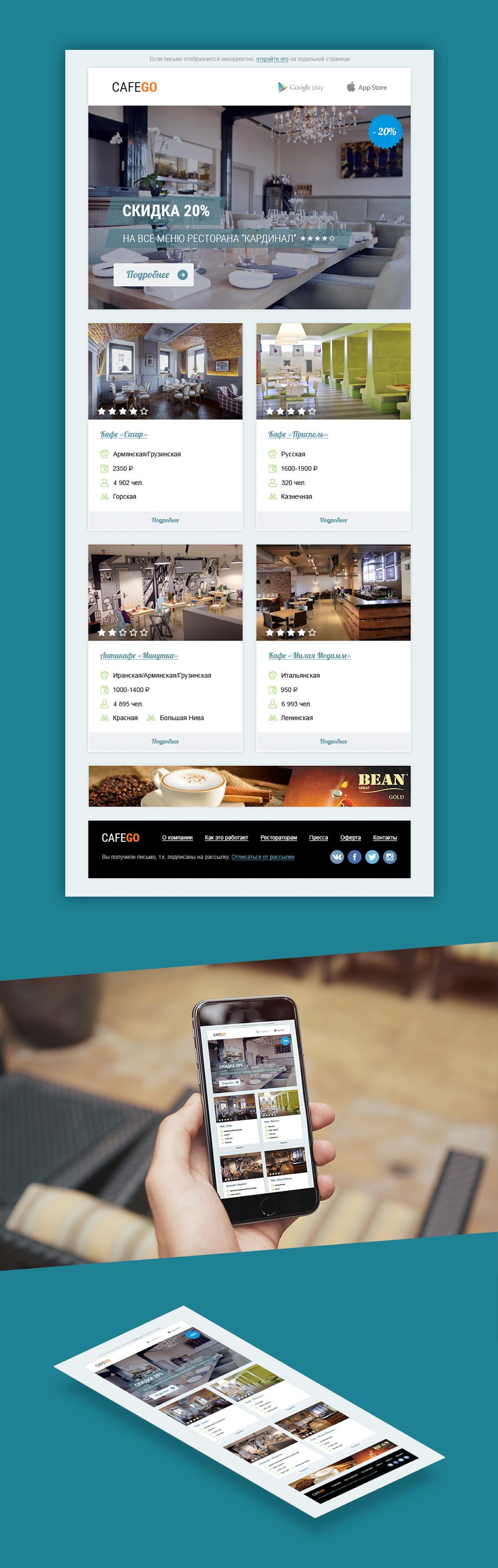 Дизайн e-mail письма «CafeGo»