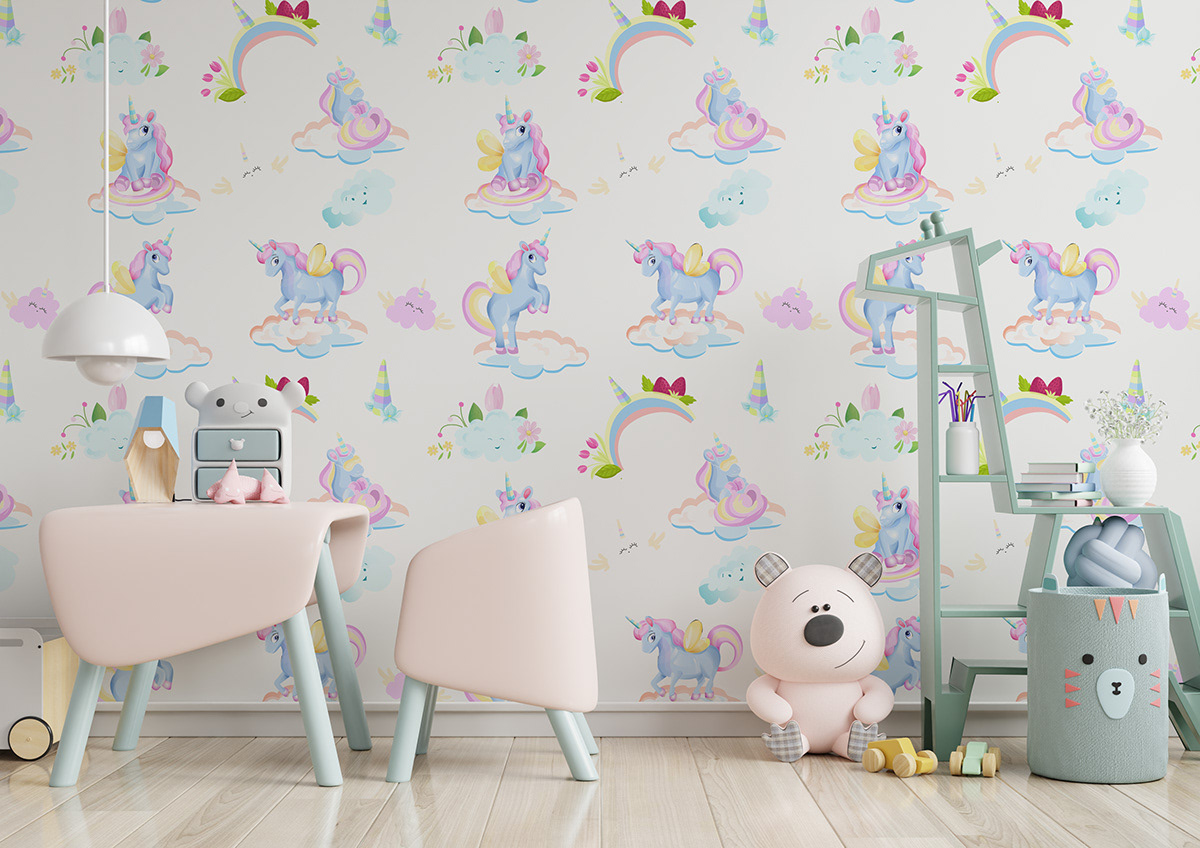 Cute bundle set of stickers and patterns with unicorns