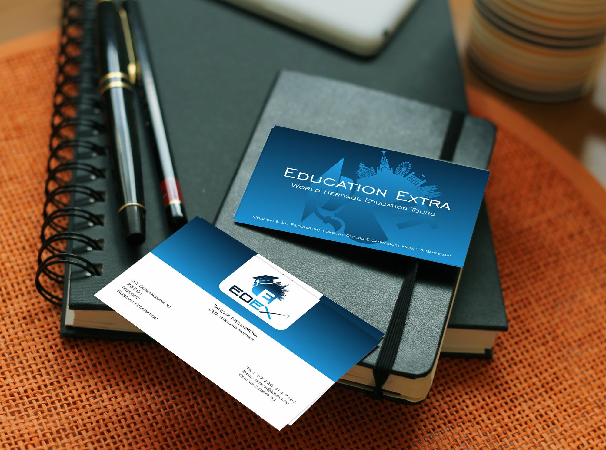 Լogo and business card design for the company Education Extra - EDEX