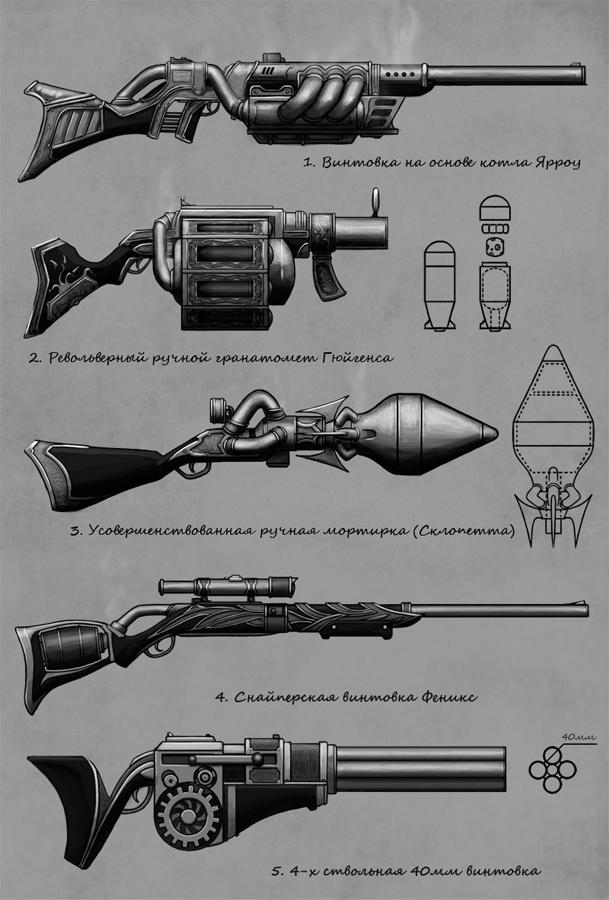 Концепты стимпанк оружия