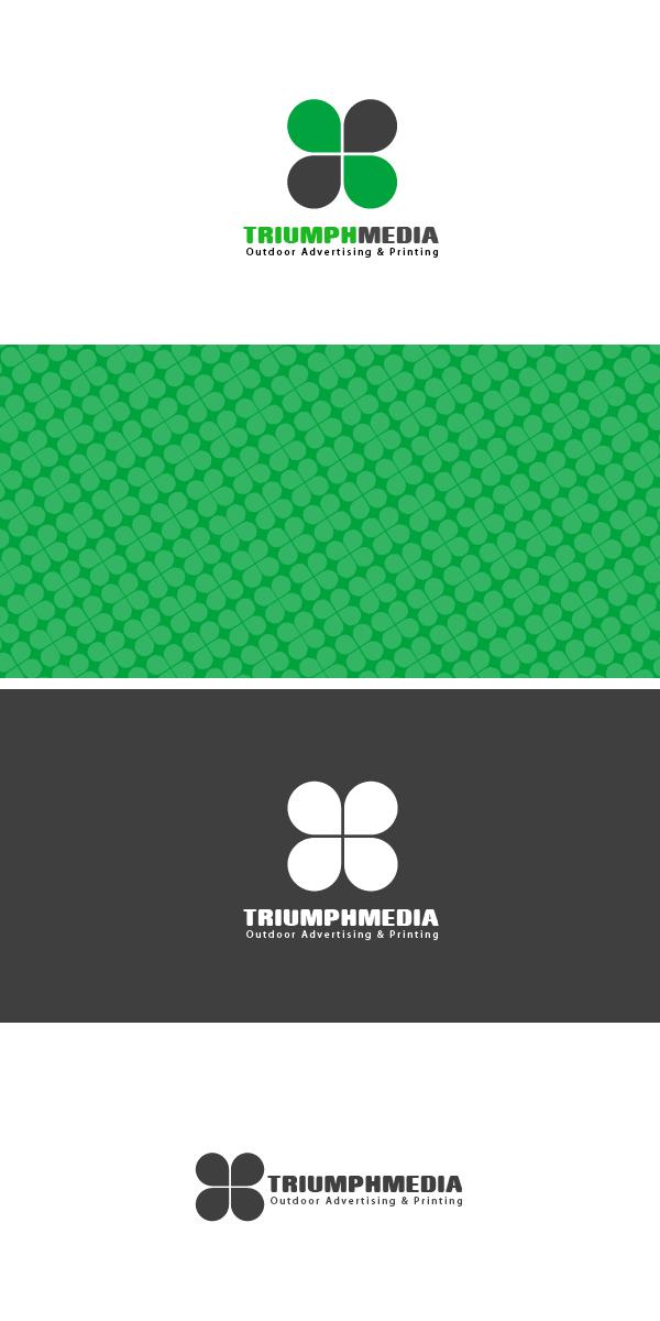 Разработка логотипа  TRIUMPH MEDIA с изображением клевера фото f_506eb6b109c12.jpg