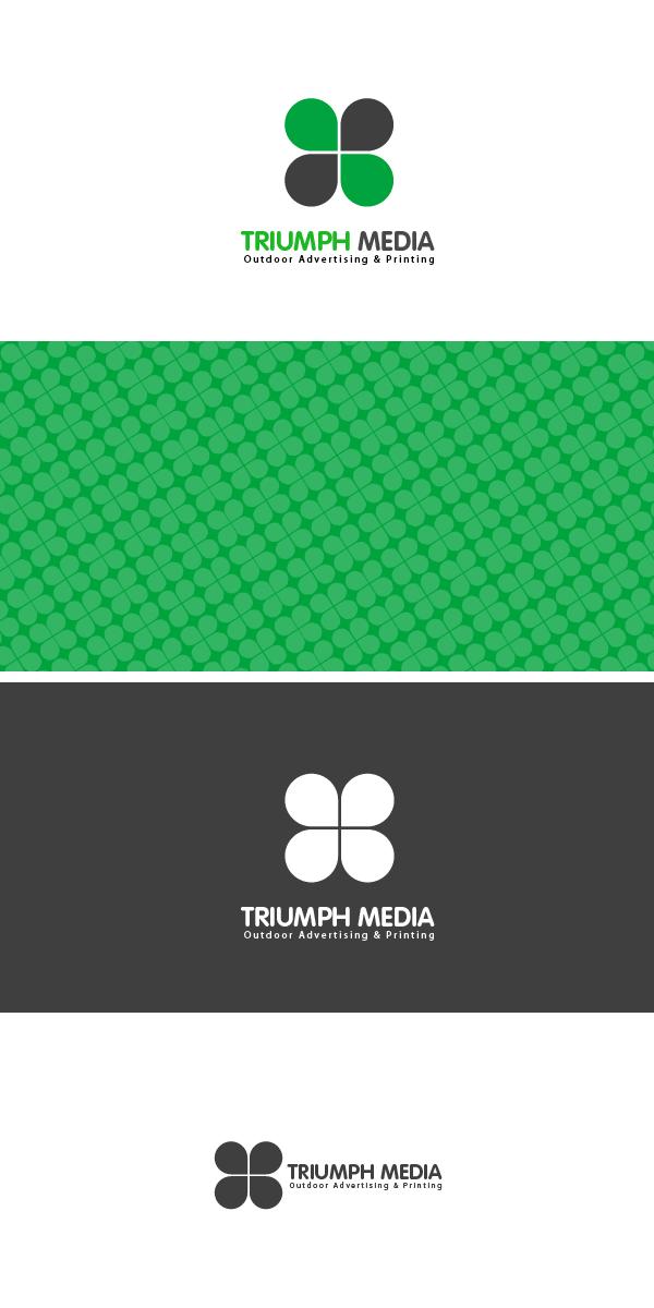 Разработка логотипа  TRIUMPH MEDIA с изображением клевера фото f_506ed80050fe2.jpg
