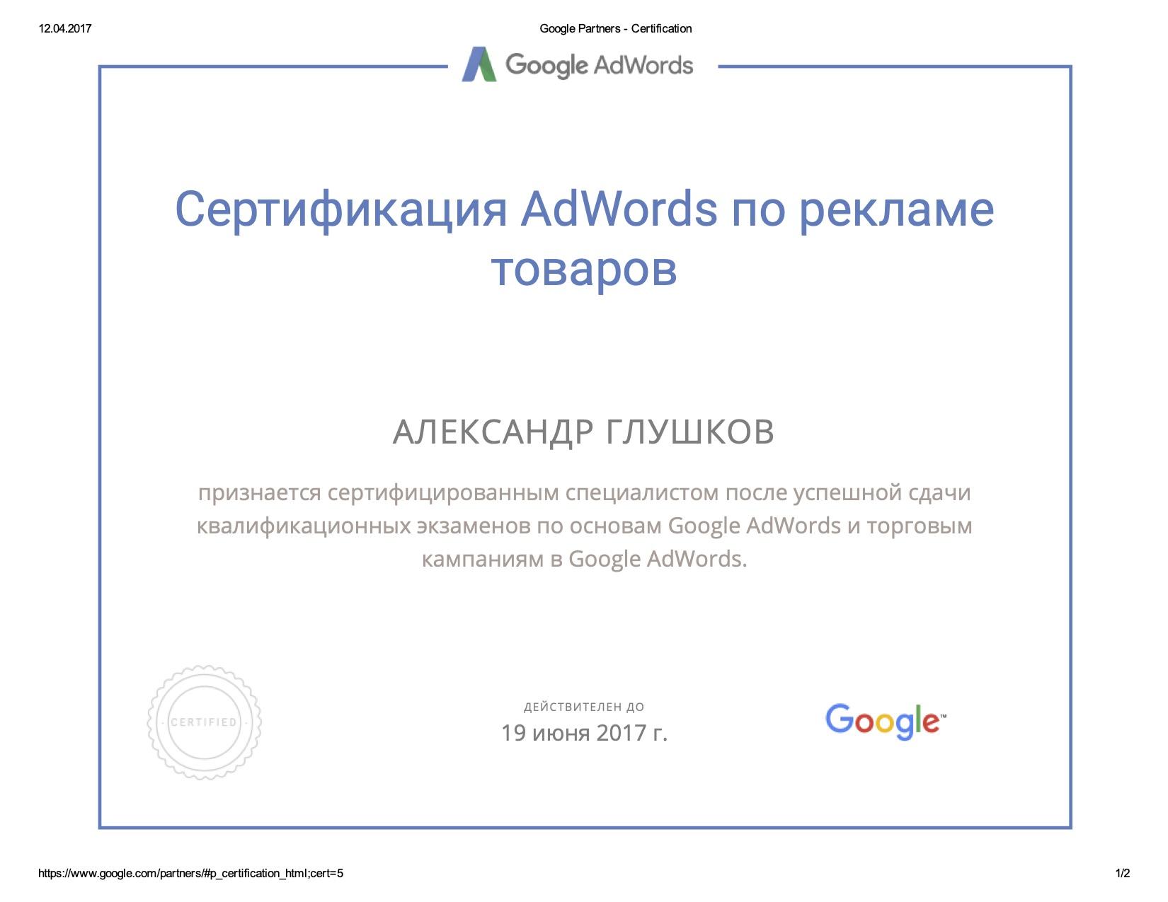 Сертификат Google Ads 4