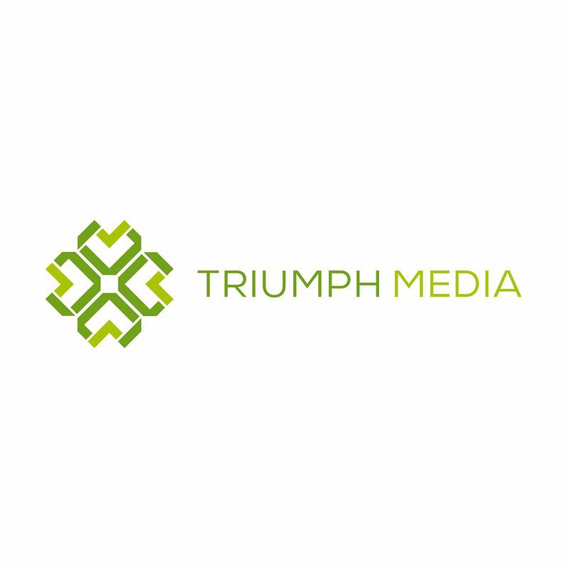 Разработка логотипа  TRIUMPH MEDIA с изображением клевера фото f_507011cd0e0bf.jpg