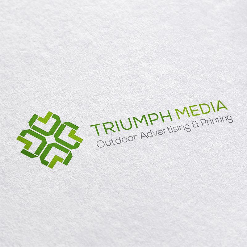 Разработка логотипа  TRIUMPH MEDIA с изображением клевера фото f_507011ea7f61d.jpg