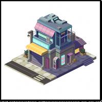 Пиксель арт здание в изометрии день