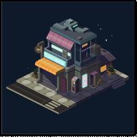 Пиксель арт здание в изометрии ночь
