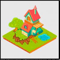 Пиксель арт дом в изометрии